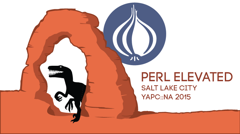 Arches/Raptor YAPC logo: Perl Elevated: YAPC::NA::2015 - Salt Lake City